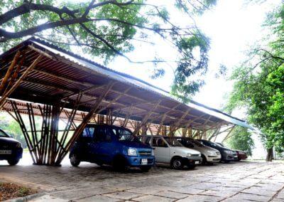 Bamboo made Car Park IIM Bangalore by Bamboooz
